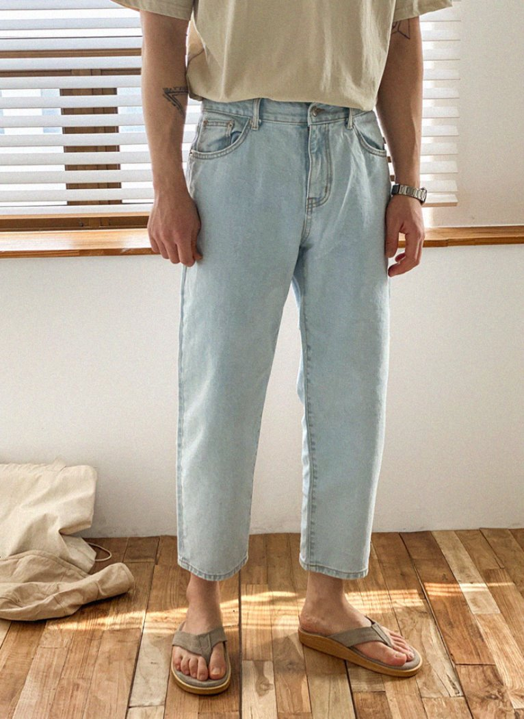 Semi Crop Denim pants(2color)