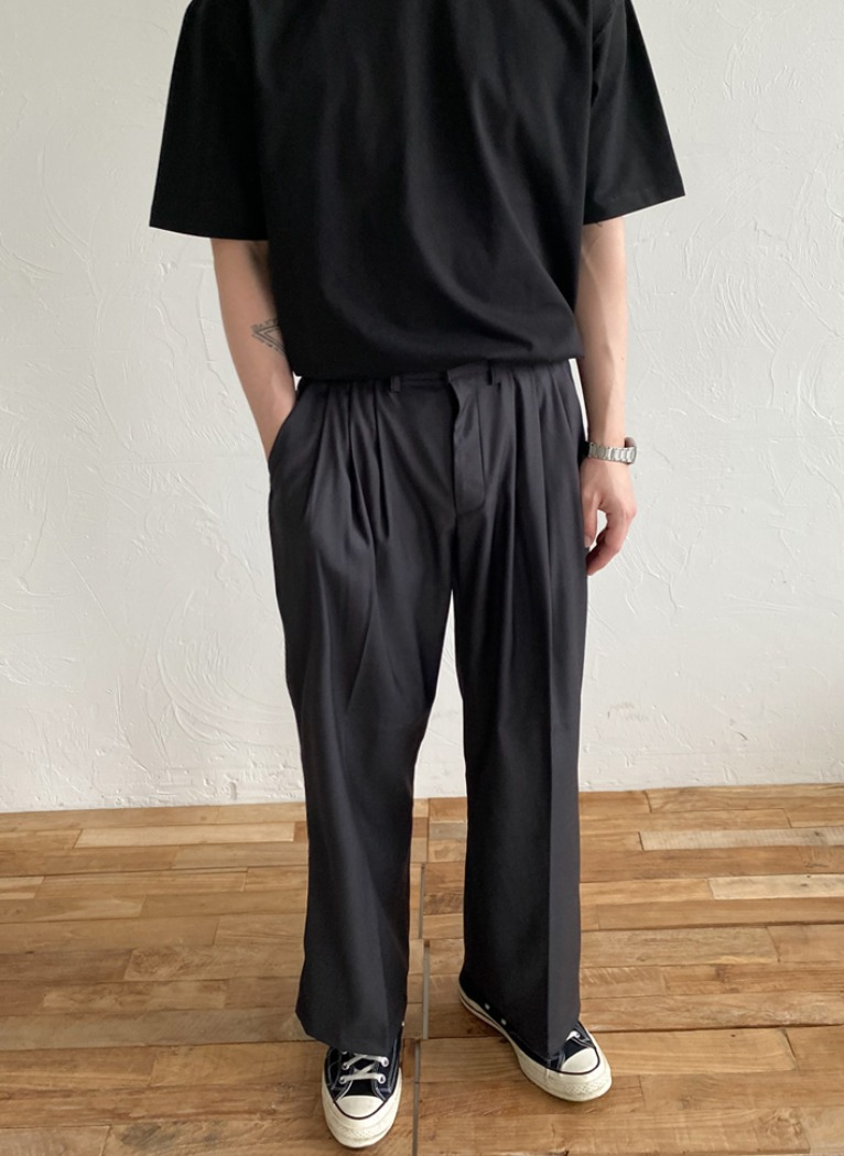 [Set-up] Tom Pleats Wide Slacks(2color)