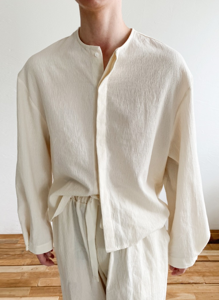 [Set-up] Soft Linen Crop Shirt(2color)