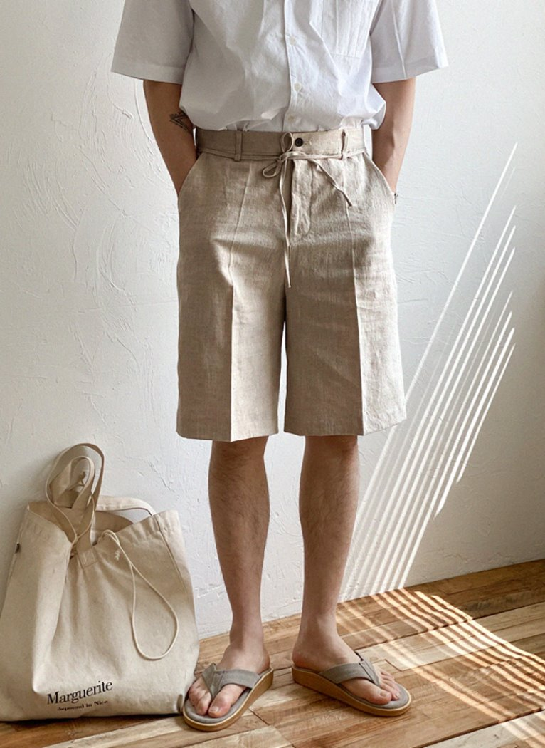 [Set-up] Stan Linen Wide Harf Pants(3color)
