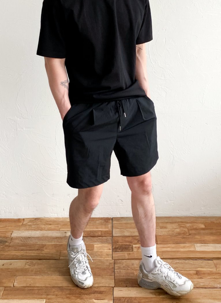 [Set-up] String Nylon Harf Pants(2color)
